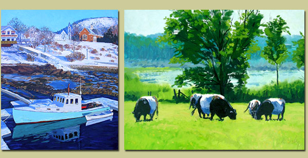 Camden Harbor and Belted Galloways Paintings