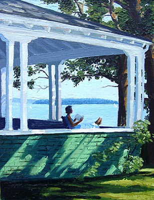 sandy point maine summer painting